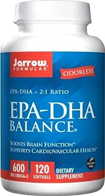 Jarrow EPA-DHA Balance (Supports Brain Function, 600mg, 120 Softgels)