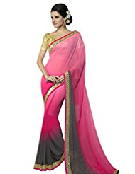 Designer Admirable Pink Border Worked Faux Georgette Saree By Triveni