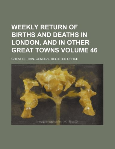 Weekly return of births and deaths in London, and in other great towns Volume 46