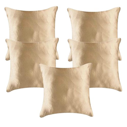 First Row Glossy Golden Satin Cushion Cover Single pc
