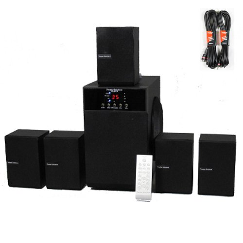 Theater Solutions 5.1 Speaker System Home Surround Sound With Two 25' Extension Cables Ts509-2