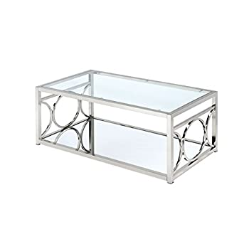 HOMES: Inside + Out ioHOMES Ortencia Chrome O-Ring Frame Coffee Table, Chrome