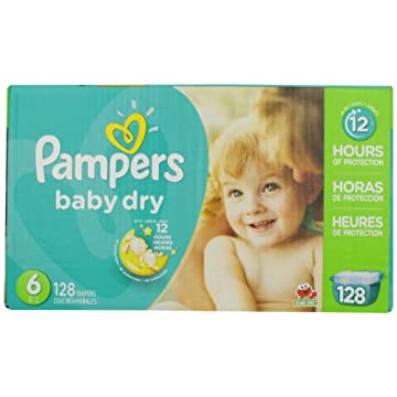 Pampers Baby Dry Diapers Economy Pack Plus (Size 6, Pack of 128)