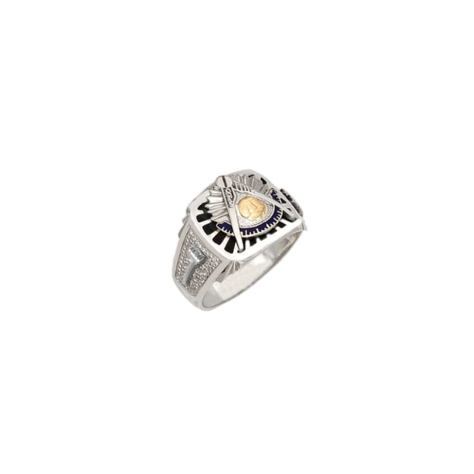 Mens Sterling Silver Masonic Past Master Ring (Size 12.5