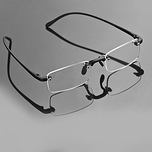 Unisex Ultra Light Fashion Design Driving Travel Rimless Frameless Magnifying Reading Presbyopic Glasses Clear Eyeglasses with Case +2.00 New