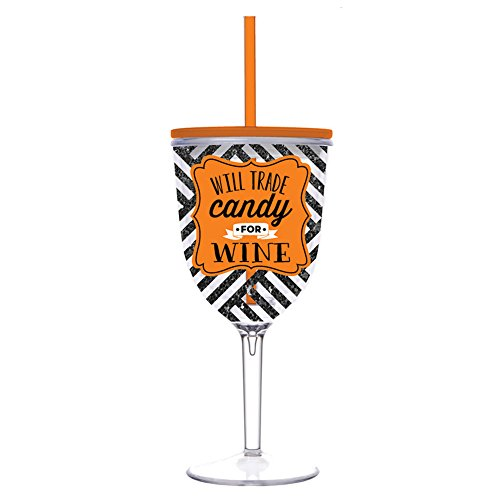 Insulated Wine Glass With Straw front-458238