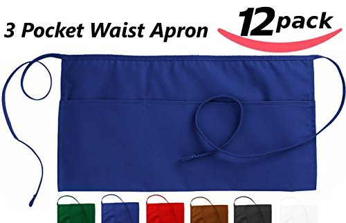 Utopia Waist Apron with 3 Pockets, 12-Pack, Blue
