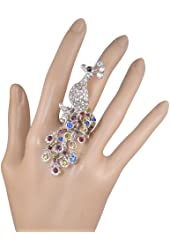 "Stunning X-Large 3"" Silver Tone Multicolor and AB Crystal Peacock Feathers Statement Ring Stretch Band"
