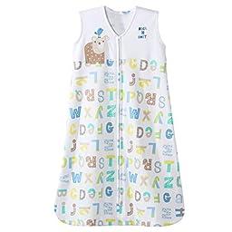HALO SleepSack 100% Cotton Wearable Blanket, Blue Alphabet Pals, X-large
