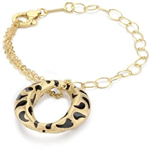 """Invicta """"Divina"""" 18k Yellow Gold-Plated with Black Enamel Charm Bracelet, 7"""""""