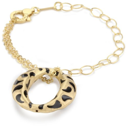 "Invicta ""Divina"" 18k Yellow Gold-Plated With Black Enamel Charm Bracelet, 7"""