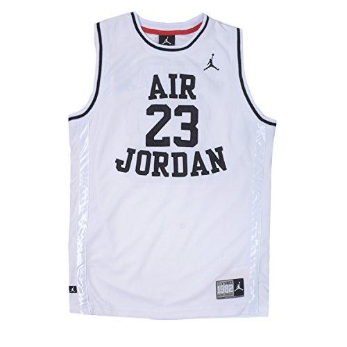 Nike Jordan Boys Youth Classic Mesh Jersey Shirt (L(12-13YRS), White/Black) (Jordan Classics compare prices)