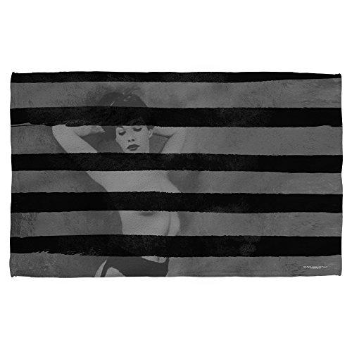 Bettie Page Black Stripes Bath Towel White 27X52