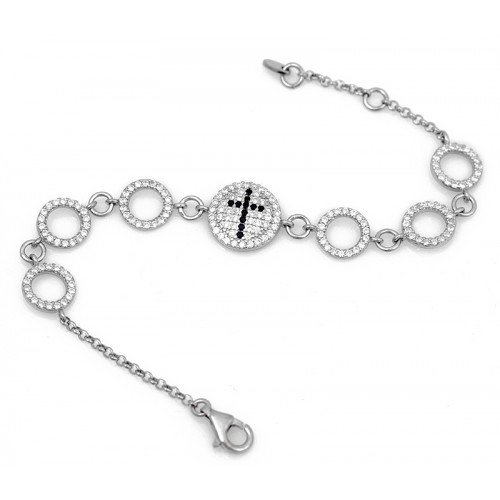 Celebrity inspired cross bracelet with diamon simulated white cz and black cz stones