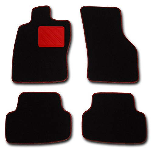 Passform Fussmatten HIGHLIGHT schwarz mit ROTEM Absatzschoner für Mercedes E-Klasse W211 / S211 Limousine / T-Modell Kombi Bj. 03/02 - 02/09 mit Mattenhalter vorne