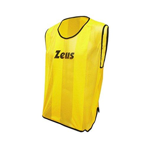 Casacca Promo Zeus Corsa Sport Uomo Running jogging Allenamento Calcio Calcetto Training Line Torneo Scuola Sport (GIALLO FLUO, BOY)