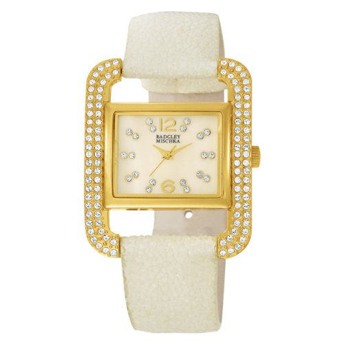 Badgley Mischka Women's BA1082IMIV Swarovski Crystal Accented Gold-Tone Ivory Stingray Strap Watch