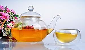 Sun's Tea (TM) 41oz Ultra Clear Heat Resistant Borosilicate Glass Teapot & Infuser for loose tea or display tea