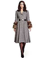 Per Una Speziale Faux Fur Cuff Belted Coat with Wool