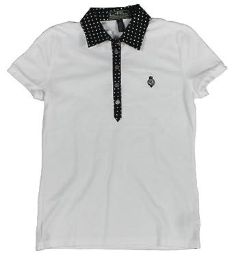 Lauren Active Golf Ladies Polka-Dot-Trim Polo Shirt by RALPH LAUREN