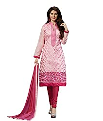 Suchi Fashion Pink Embroidered Chanderi Dress Material