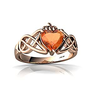 14kt Rose Gold Fire Opal 6mm Heart Claddagh Celtic Knot Ring - Size 4