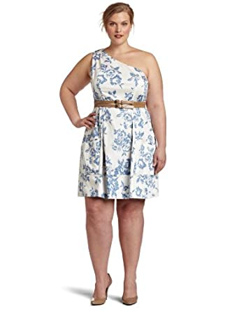 Jessica Simpson Women's Plus-Size Cross Front Full Skirt Sundress, Pixilated Toile Blue Dutch, 20W