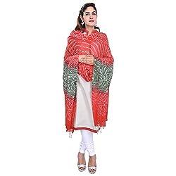 Soundarya Orange Green Bandhej Hand Work Cotton Dupatta
