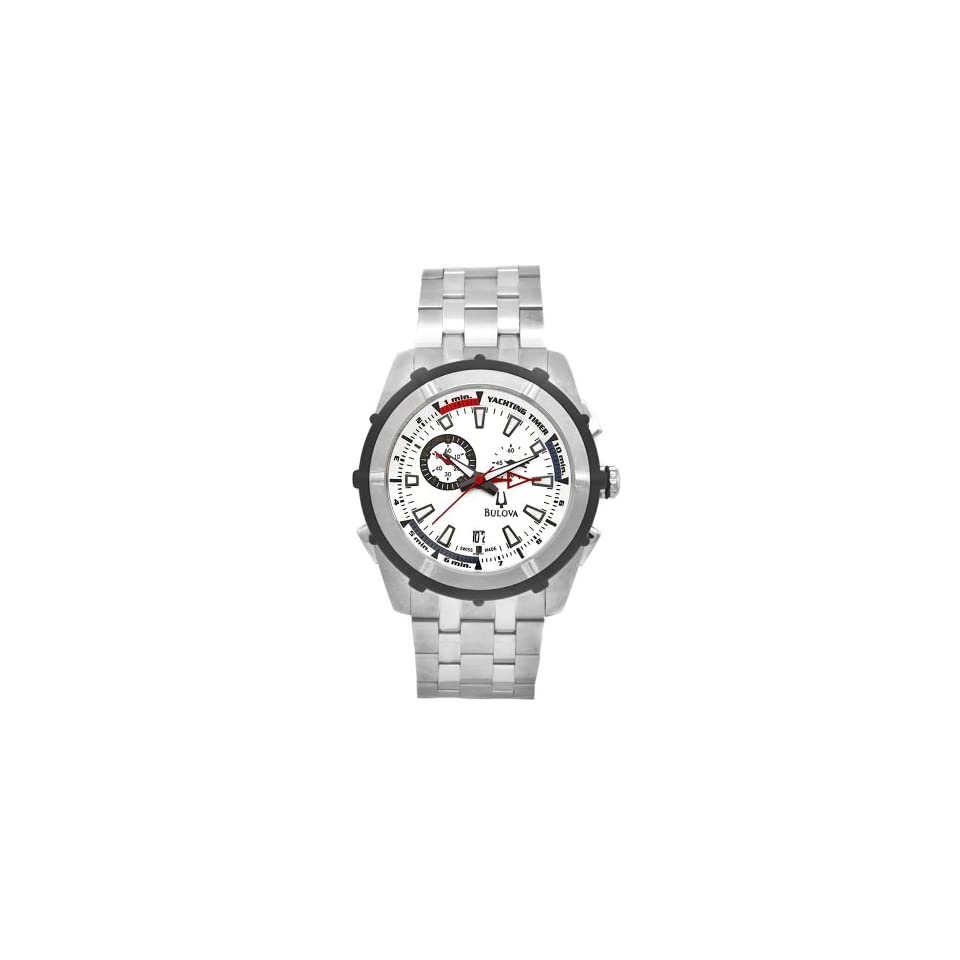 Bulova Mens 65B117 Stainless Steel Rubber Accent Yacht Timer Watch