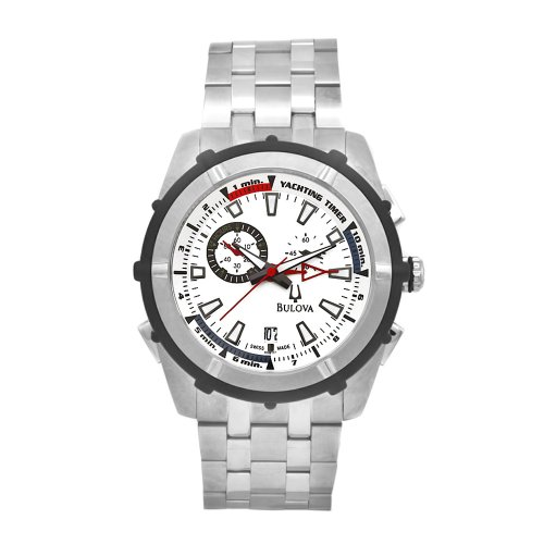 Bulova Men's 65B117 Stainless Steel Rubber Accent Yacht Timer Watch