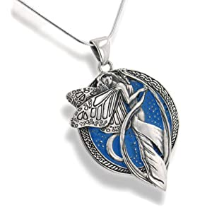 sterling silver sky blue moonlight fairy celtic art pendant