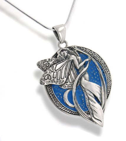 Pendant Necklace Sterling Silver Sky Blue Moonlight Fairy Celtic Art