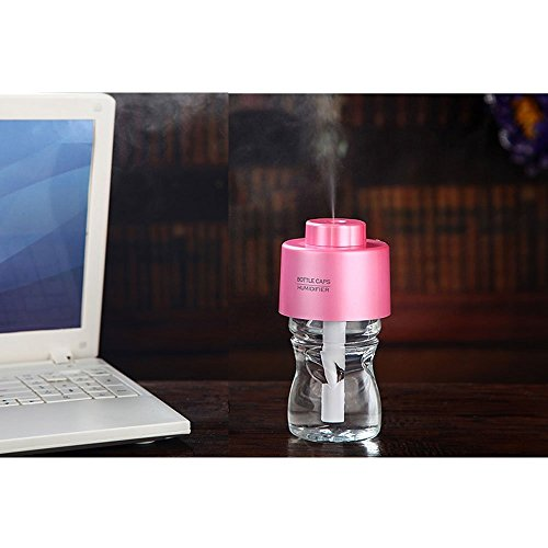 Great Deal! Portable Bottle Cap Air Humidifier with bottle for office home travel ---Pink