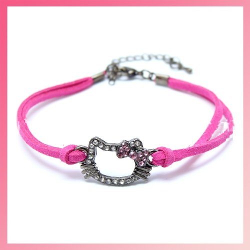 CJB Hello Kitty Rhinestone Leather Bracelet Rose Pink (US Seller) - 1