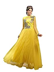 Blissta Yellow partywear Long Net Gown Dress material