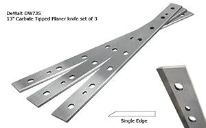 """DeWalt DW735 13"""" Carbide Tipped Planer Knife set of 3"""