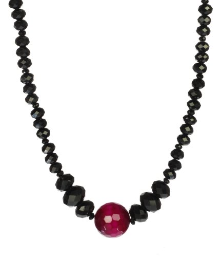 Dyed Pink Agate Center and Black Glass Rondelles, Sterling Silver Clasp Necklace 18