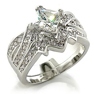 2ct Princess Bridal Wedding Ring Set Platinum plated Cubic Zirconia (9)
