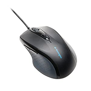 Kensington Pro Fit Wired Optical Mouse, Right Handed, PS/2, USB, Black, Full-Size (K72369US)