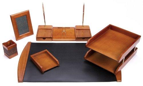 Majestic Goods Six Piece Brown Oak Wood Desk Set (W450) Oak Desk Accessories