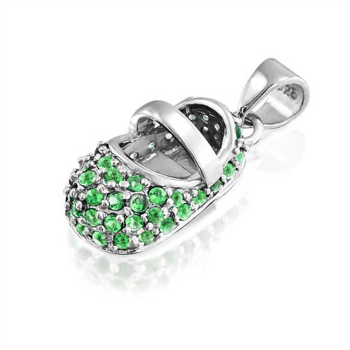 Bling Jewelry 925 Silver Baby Shoe Charm Pendant May Birthstone Emerald Color Cz Free Engraving front-60385