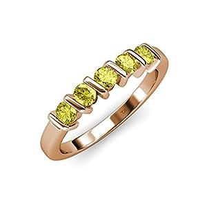 Yellow Diamond 5 Stone Bar Set Wedding Band 0.75 ct tw in 14K Rose Gold