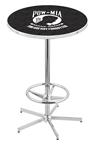 "Holland Bar Stool Co. L217B42 36"" Tall Chrome United States Military Air Force Licensed Pub Table, Black, 28"""