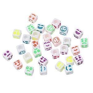 Housweety 500 Mix Acryl Perlen Beads Wuerfel Gravur Laecheln Mehrfarbig 6mm x6mm