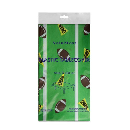 "Party Essentials ValuMost Printed Plastic Table Cover, 54 x 108"", Football"