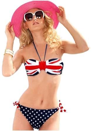 Demarkt Sexy Maillot de Bain pour les Femmes/Swimwear Bustier Push Up Deux Pieces Bikini avec Bandeau Multicolore Drapeau de l'Angleterre/Taille S/M/L (M)