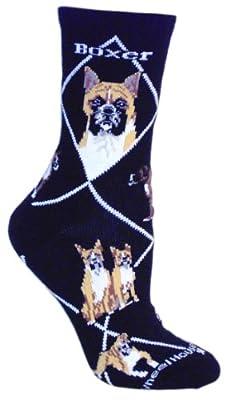 Boxer Black Cotton Dog Novelty Socks for Adults 9-11