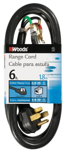 Woods 0762 6/2 and 8/2-Gauge SRDT 50-Amp Range Appliance Power Supply Cord, 6-Feet, 4-Wire, 125/250V