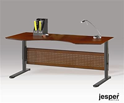 "75"" Cherry Sit - Stand Executive Desk with Motorized Height Adjustment"