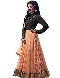 Latests Women Georgette Embroidered Orange Black Anarkali Suit Dupatta - Dress Material